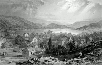 ANTIQUE PRINT: BOWNESS, & WINDERMERE LAKE, WESTMORLAND.