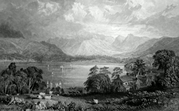 ANTIQUE PRINT: WINDERMERE LAKE, FROM LOW WOOD INN.