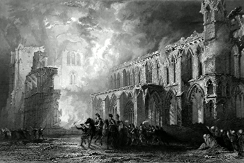 ANTIQUE PRINT: DESTRUCTION OF ELGIN CATHEDRAL. (BURNT A.D. 1390 BY THE