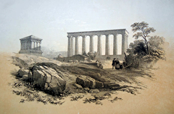 ANTIQUE PRINT: NATIONAL MONUMENT, CALTON HILL. FROM AN ORIGINAL DRAWING BY J. D. HARDING.