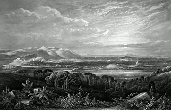 ANTIQUE PRINT: FIELD OF BANNOCKBURN. FROM THE GILLIE'S HILL.