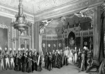 ANTIQUE PRINT: THE THRONE ROOM, BUCKINGHAM PALACE. PRESENTATION OF AN ADDRESS FROM THE UNIVERSITY OF OXFORD.