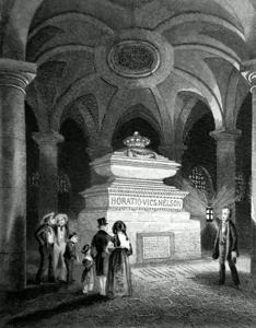 ANTIQUE PRINT: NELSON'S TOMB, CRYPT OF ST. PAUL'S.