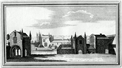 ANTIQUE PRINT: VIEW OF TAVISTOCK-ABBY IN THE COUNTY OF DEVON.