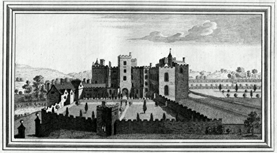 ANTIQUE PRINT: VIEW OF POWDERHAM CASTLE IN THE COUNTY OF DEVON.