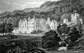 ANTIQUE PRINT: MAMHEAD HALL, NEAR DAWLISH, DEVONSHIRE, THE SEAT OF R. W. NEWMAN, ESQ. TO WHOM THIS PLATE IS RESPECTFULLY INSCRIBED, BY THE PUBLISHERS.