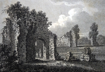 ANTIQUE PRINT: RUINS OF THE PALACE AT CHUDLEIGH DEVONSHIRE.