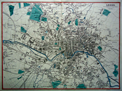 ANTIQUE MAP: LEEDS. FROM ORDNANCE & ACTUAL SURVEY.