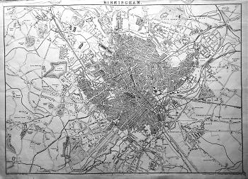 ANTIQUE MAP : BIRMINGHAM.