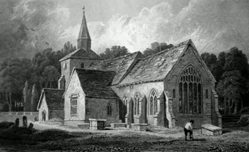 ANTIQUE PRINT: SOUTH EAST VIEW OF ST. STEPHENS CHURCH. HACKINGTON NEAR CANTERBURY. KENT.