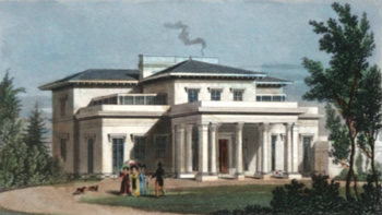 ANTIQUE PRINT: VILLA IN THE REGENT'S PARK. THE RESIDENCE OF THE MARQUIS OF HERTFORD TO WHOM THIS PLATE IS RESPECTFULLY INSCRIBED.