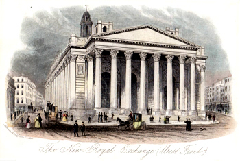 ANTIQUE PRINT: THE NEW ROYAL EXCHANGE (WEST FRONT).