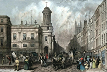 ANTIQUE PRINT: ROYAL EXCHANGE AND CORNHILL.