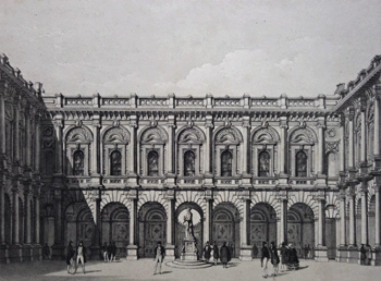 ANTIQUE PRINT: NEW ROYAL EXCHANGE. VIEW OF THE QUADRANGLE – (MERCHANT'S AREA.)