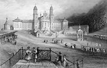 ANTIQUE PRINT: THE ABBEY OF EINSIEDELN.