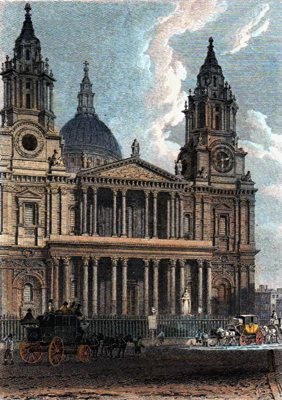 ANTIQUE PRINT: WEST FRONT OF ST. PAUL'S CATHEDRAL.