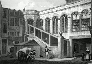 ANTIQUE PRINT: CROSBY HALL, BISHOPSGATE STREET.