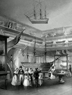 ANTIQUE PRINT: ROYAL NAVAL MUSEUM, SOMERSET HOUSE. EXHIBITION OF MODELS.