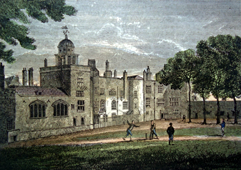 ANTIQUE PRINT: CHARTERHOUSE – THE QUADRANGLE. (FROM A VIEW TAKEN IN 1805.)