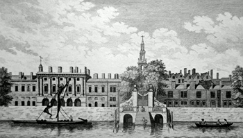 ANTIQUE PRINT: SOMERSET HOUSE VIEW'D FROM THE RIVER.