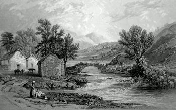 ANTIQUE PRINT: [WATENDLATH] WATENLATH, & THE STREAM OF LOWDORE.