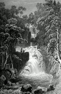 ANTIQUE PRINT: THE UPPER FALL AT RYDAL, WESTMORLAND.