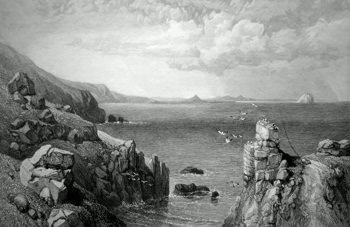 ANTIQUE PRINT: VIEW FROM FAST CASTLE, DUNBAR, NORTH BERWICK LAW, AND THE BASS ROCK IN THE DISTANCE.