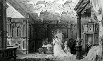 ANTIQUE PRINT: INTERIOR OF SIZERGH HALL, WESTMORLAND.