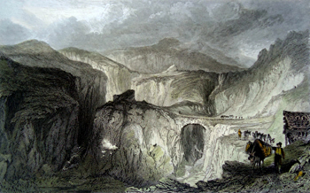 ANTIQUE PRINT: LONG SLEDDALE SLATE QUARRY, WESTMORLAND.