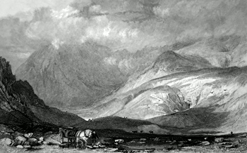 ANTIQUE PRINT: KENTMERE HEAD, AND SLATE QUARRIES, WESTMORLAND.