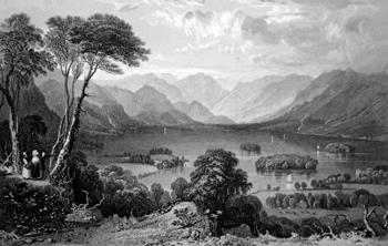 ANTIQUE PRINT: DERWENT WATER, FROM THE CASTLE HEAD, CUMBERLAND.