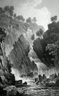 ANTIQUE PRINT: FALL OF THE CONWAY, CAERNARVONSHIRE.