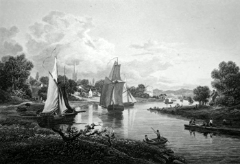 ANTIQUE PRINT: VIEW OF GOVAN, FROM THE EAST.