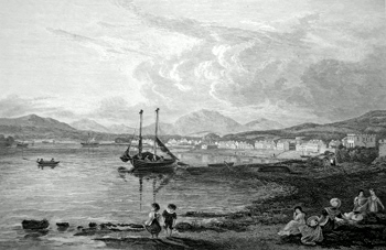 ANTIQUE PRINT: HELENSBURGH, FROM BEYOND THE BATHS.
