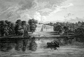 ANTIQUE PRINT: ROSENEATH HOUSE, THE PROPERTY OF HIS GRACE THE DUKE OF ARGYLL, FROM GAIR LOCH.