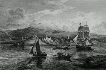ANTIQUE PRINT: VIEW OF DUNOON & CASTLE. FROM THE SOUTH WEST.