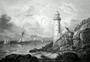 Antique print of Cloch Lighthouse, Inverclyde