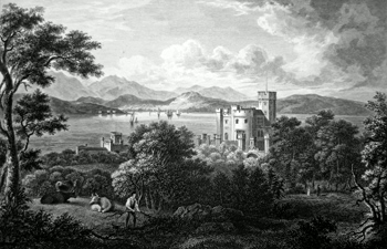 ANTIQUE PRINT: CASTLE TOWARD, THE SEAT OF KIRKMAN FINLAY ESQ.R.