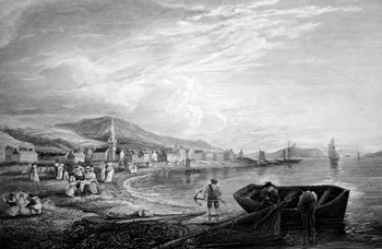 ANTIQUE PRINT: VIEW OF LARGS. FROM THE NORTH.