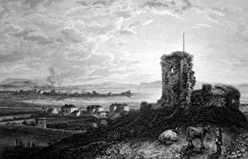 ANTIQUE PRINT: SALTCOATS &C. FROM ADROSSAN CASTLE.