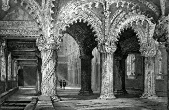 ANTIQUE PRINT: INTERIOR OF ROSLYN CHAPEL. (MID-LOTHIAN.)