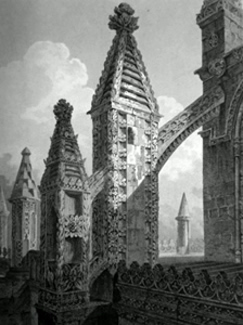 ANTIQUE PRINT: ROSLYN CHAPEL (VIEW OF BUTTRESSES, PINNACLES &C AT THE N. E. CORNER.)