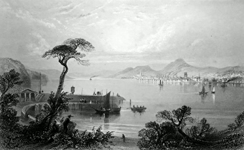 ANTIQUE PRINT: DUNDEE, FROM THE OPPOSITE SIDE OF THE TAY.