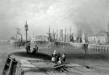 ANTIQUE PRINT: ENTRANCE TO THE PORT OF DUNDEE.