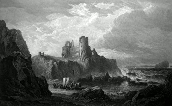 ANTIQUE PRINT: TANTALLON CASTLE, COAST OF HADDINGTON-SHIRE.