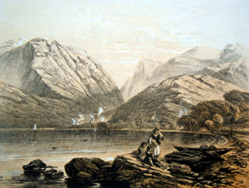 Antique print of Loch Leven, Argyllshire