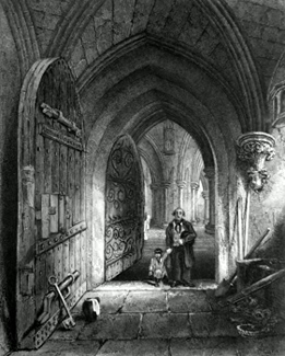 ANTIQUE PRINT: WELLS CATHEDRAL. ENTRANCE TO THE CRYPT.