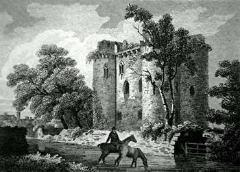 ANTIQUE PRINT: NUNNEY CASTLE, SOMERSETSHIRE.