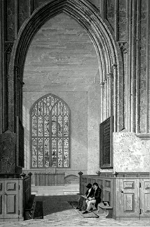 ANTIQUE PRINT: GREAT MALVERN CHURCH, WORCESTERSHIRE. (VIEW IN JESUS CHAPEL.)