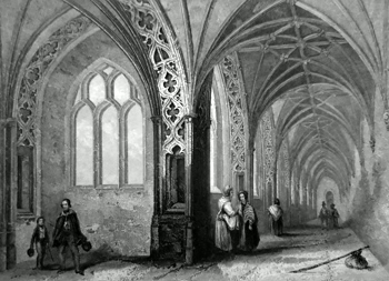 ANTIQUE PRINT: WORCESTER CATHEDRAL. THE CLOISTERS.